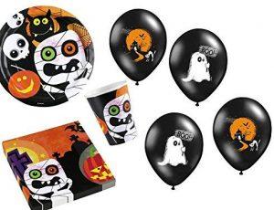 Partymix für die Halloweenparty: Pappteller, Becher, Servietten, Ballons