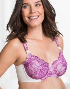 Still-BH mit Bügeln und dekorativer Spitze in violett