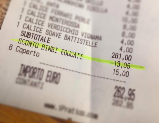Restaurant-Rabatt für gutes Benehmen