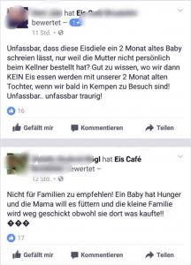 Empörte Bewertungen auf der Facebookseite des Eis Cafés
