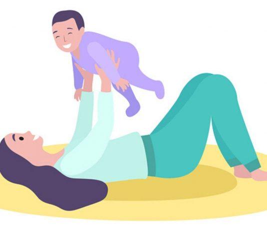 Beckenboden Gesundheit: Illustration von Frau mit Kind