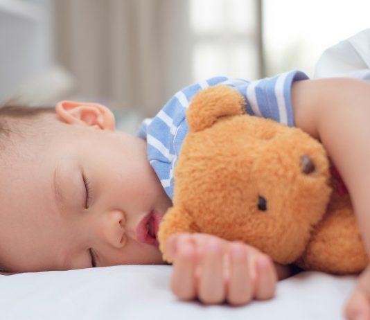 Kleinkind schläft mit Teddy