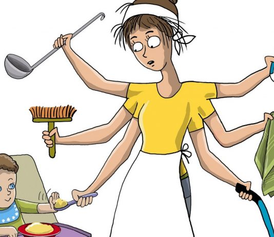 Hausfrau und Mutter