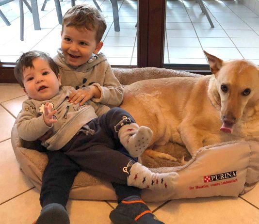 Kinder sitzen mit dem Hund in seinem Körbchen