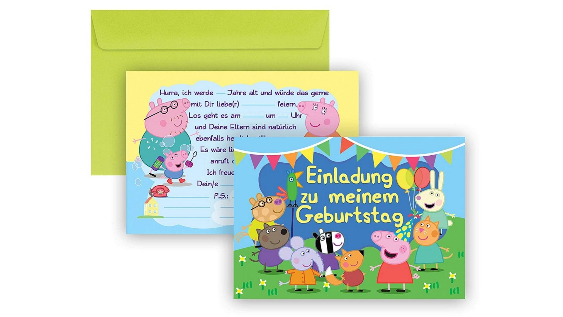 Peppa Wutz Einladungskartten