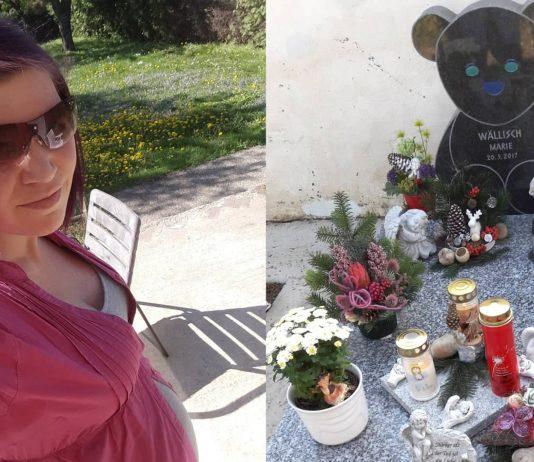 Jennifer und das Grab ihrer Tochter Marie, die während der Geburt an einem Nabelschnurvorfall starb