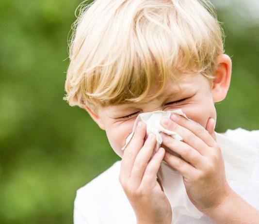 Globuli gegen Kinder-Schnupfen: Junge mit Taschentuch