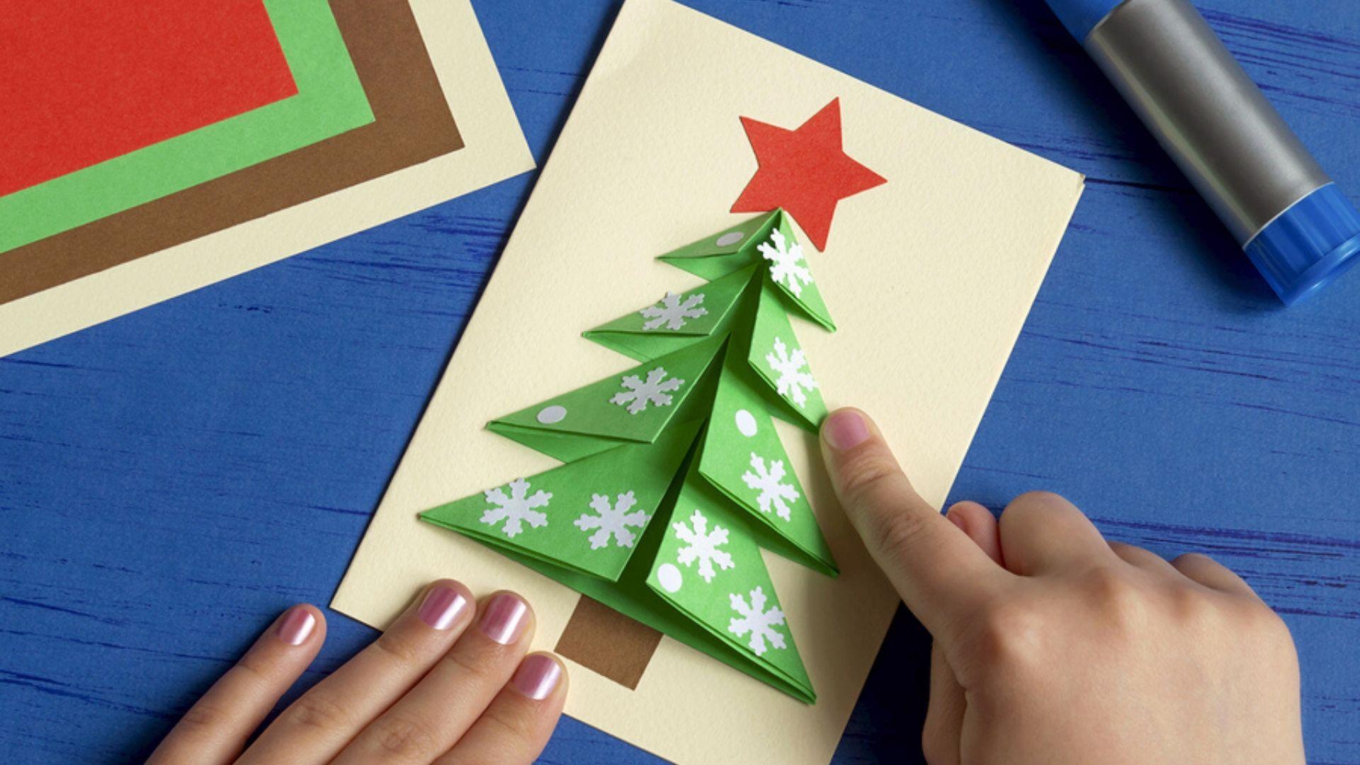 weihnachtskarten mit kindern basteln 10 einfache ideen. Black Bedroom Furniture Sets. Home Design Ideas