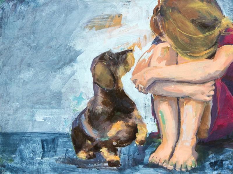 """""""Seelentröster Hund"""" von Tamara Tavella zeigt, dass ein Haustier ein großer Trost für Kinder in Trauer sein kann."""