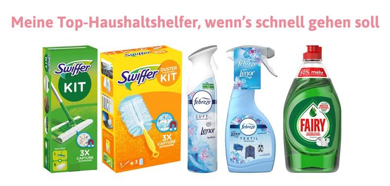 Super, um schnell alles sauber und frisch zu kriegen: Der Swiffer Bodenwischer und Staubmagnet, der Febreze Raum- und Textilerfrischer und dasHandgeschirrspülmittel Fairy.