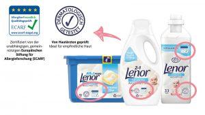 Für Babyhaut ideal: Die Lenor Sensitiv-Produkte sind dermatologisch getestet und zertifiziert von der Europäischen Stiftung für Allergieforschung.