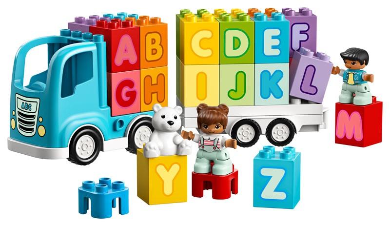 Fahren, stapeln, Formen, Farben, Buchstaben kennenlernen: Dieser Laster wird von meinem Sohn nicht mehr aus der Hand gegeben.