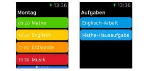 Stundenplan Deluxe App auf der Apple Watch.