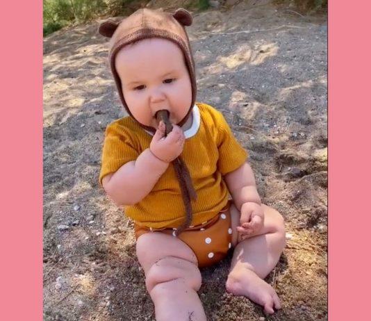 Der kleine Fern beim Steine essen.