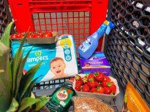 Bei uns sind folgende P&G-Produkte im Einkaufswagen gelandet: Pampers, Febreze, Always und Fairy.