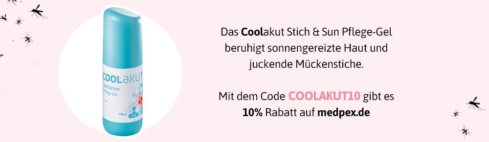 Mit diesem Code erhaltet ihr 10% Rabatt auf das Coolakut Stich & Sun Pflege-Gel!