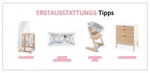 Babyzimmer-Ideen, die sich lohnen: Sleepi™ (ca. 429 Euro Stokke), Flexi Bath® (62 Euro über Stokke), Tripp Trapp® Newborn Bundle (308 Euro über Stokke) sowie Home™ Dresser (398 Euro über Stokke).