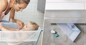 Faltbare Babybadewannen sind super für kleine Duschbäder.